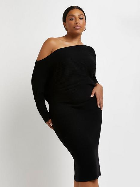 ri-plus-off-shoulder-relaxed-dress-black