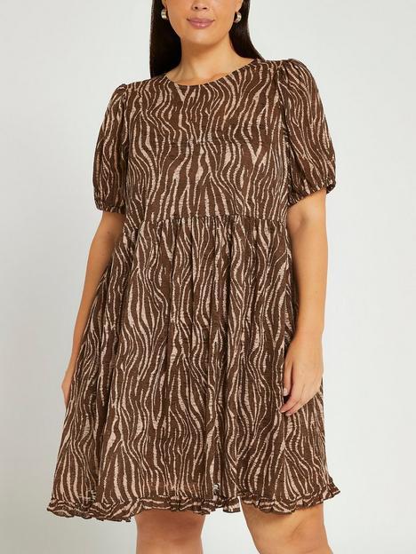 ri-plus-animal-print-mini-smock-dress-brown