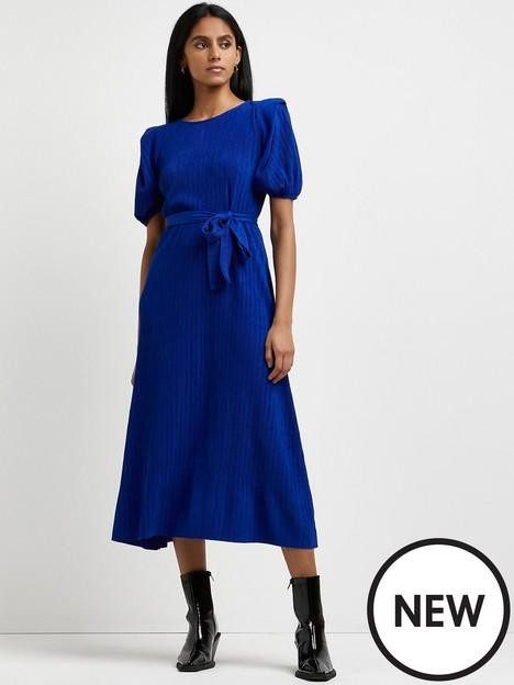 river-island-plisse-tie-waist-midi-dress-blue