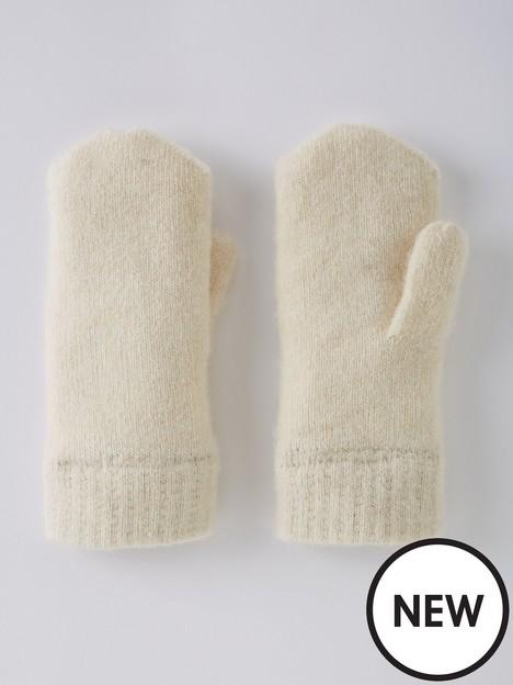 pieces-wool-blend-mittens-cream