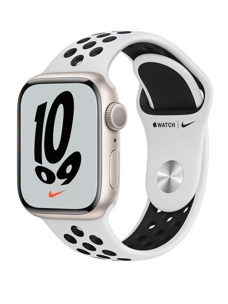 apple-watch-nike-series-7-gps-41mm-starlight-aluminium-case-with-pure-platinumblack-nike-sport-bandnbsp