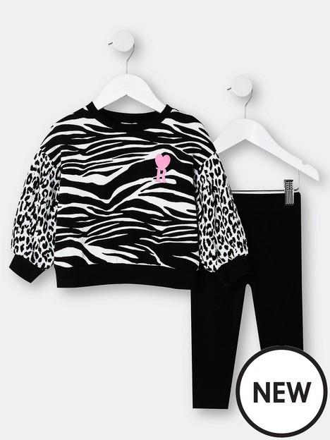 river-island-mini-mini-girls-zebra-saweat-and-legging-set-black