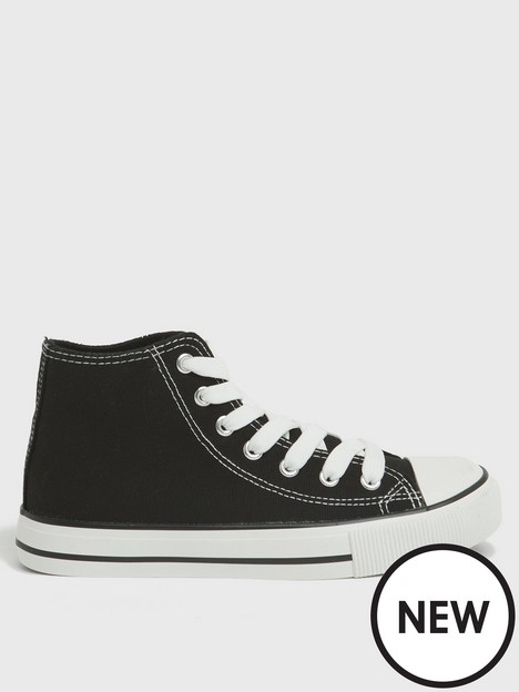 new-look-girls-canvas-high-top-trainers-black