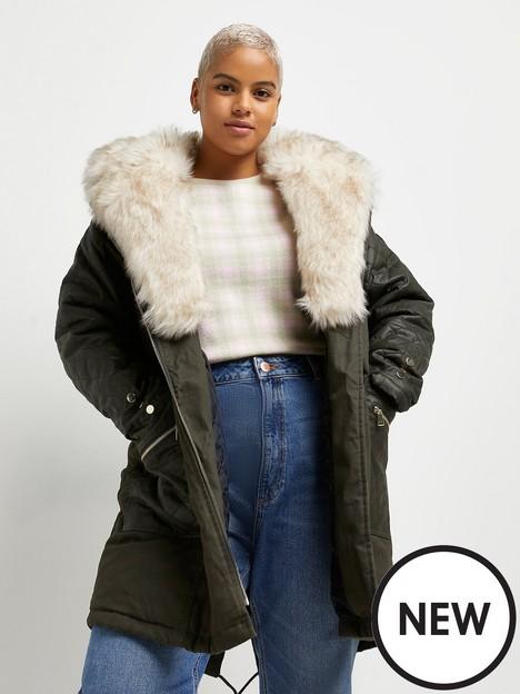 ri-plus-faux-fur-trim-parka-coat-khaki