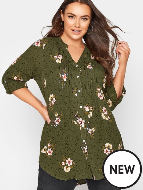 yours-yours-pintuck-shirt-floral-khaki