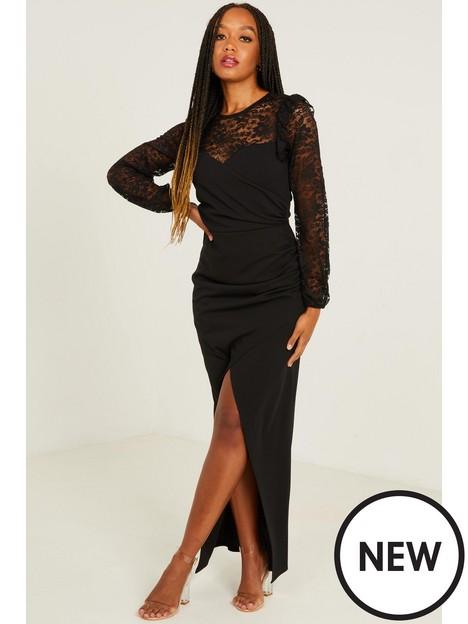 quiz-quiz-black-scuba-crepe-lace-insert-ruched-maxi-dress